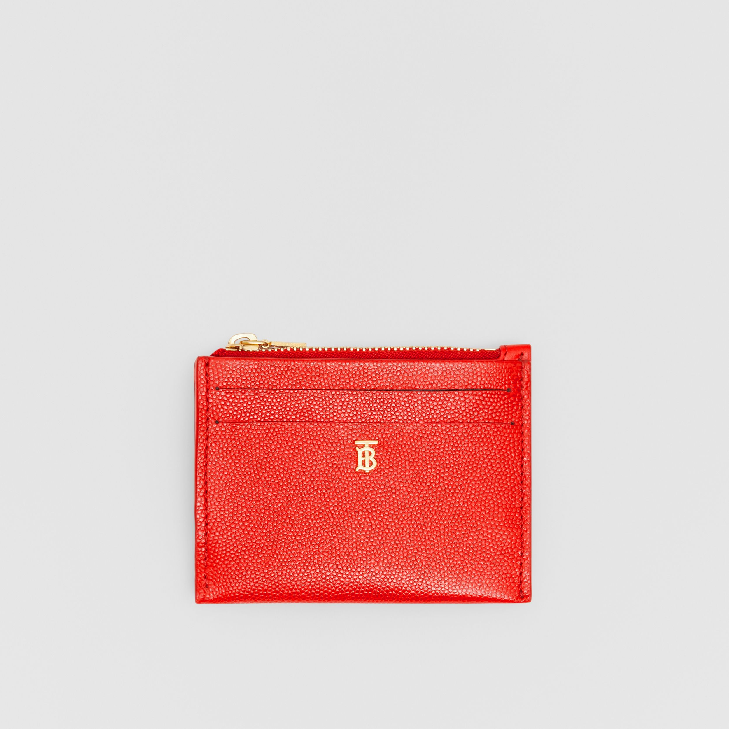 Monogram Motif Grainy Leather Zip Card Case in Bright Red - Women | Burberry - 1