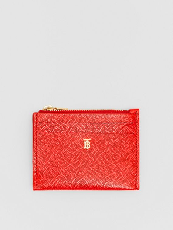 Monogram Motif Grainy Leather Zip Card Case in Bright Red