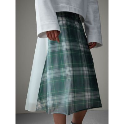 silk lined tartan plastic a line skirt in green