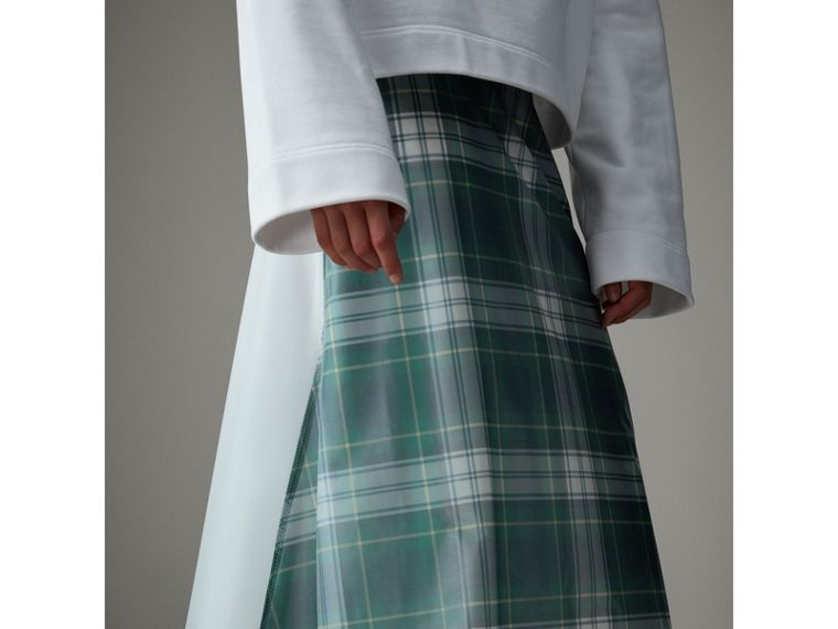 Silk-lined Tartan Plastic A-line Skirt in Green - Women | Burberry - cell image 1