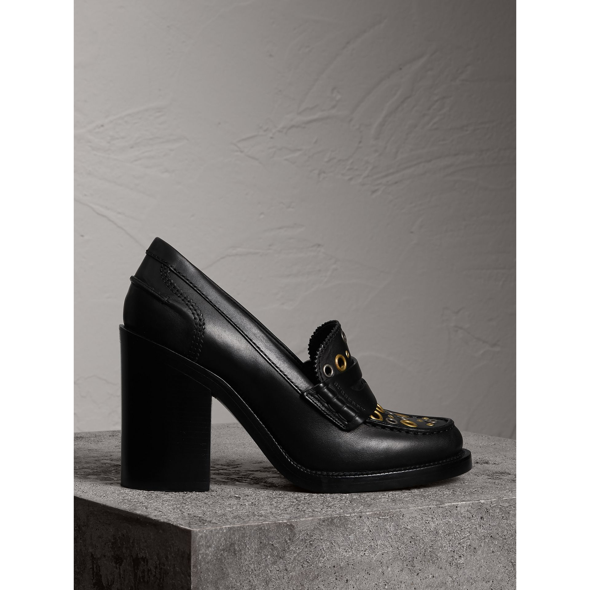 Eyelet Detail Leather Heeled Loafers in Black - Women | Burberry United States - gallery image 1