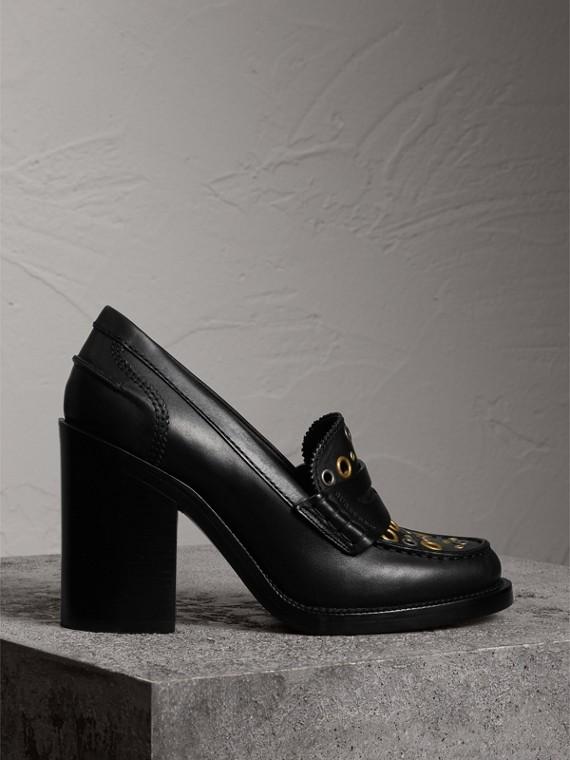 孔洞細節皮革高跟樂福鞋 (黑色)
