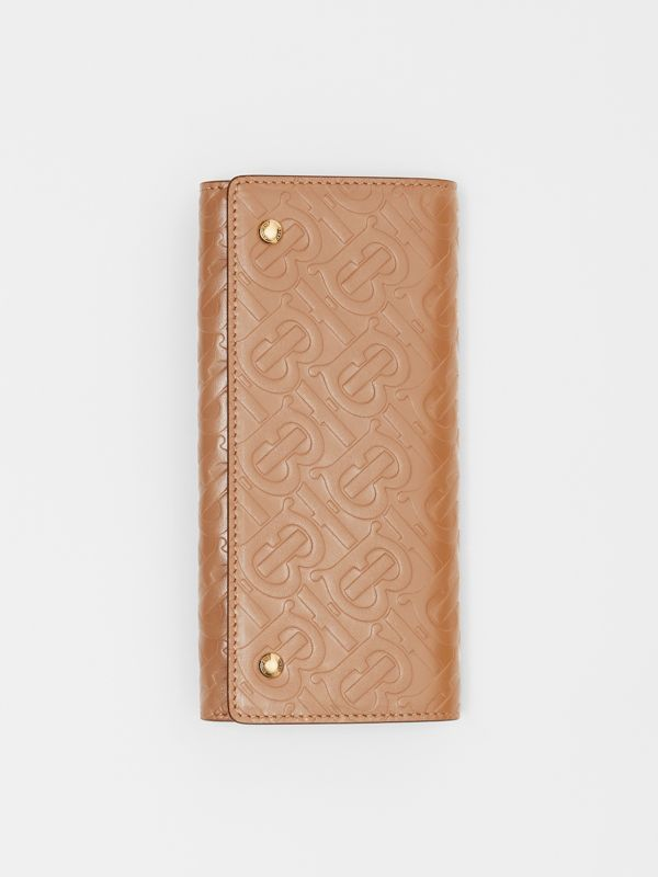 Monogram Leather Continental Wallet in Light Camel - Women | Burberry - cell image 3