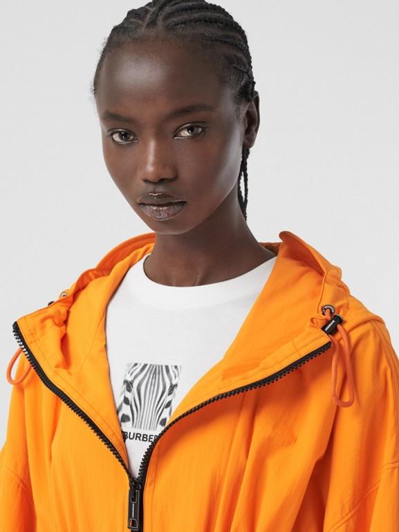 Logo Tape Technical Nylon Hooded Jacket in Bright Orange | Burberry United Kingdom - cell image 1