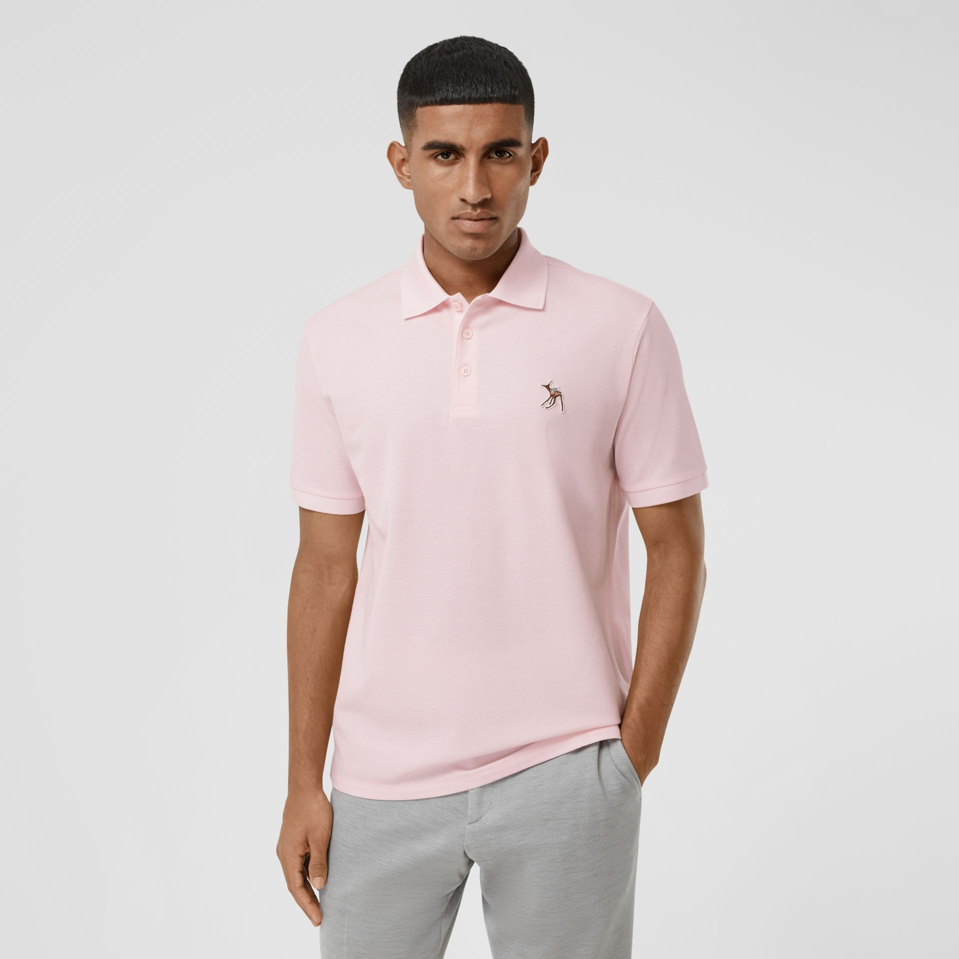 Deer Appliqué Cotton Piqué Polo Shirt in Alabaster Pink - Men | Burberry - gallery image 0