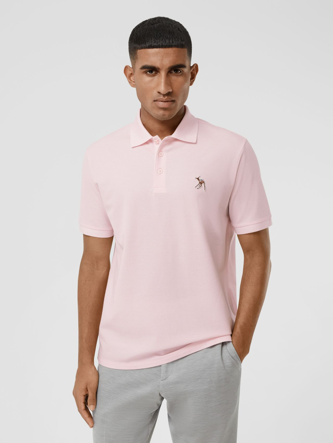 Deer Appliqué Cotton Piqué Polo Shirt (Alabaster Pink)