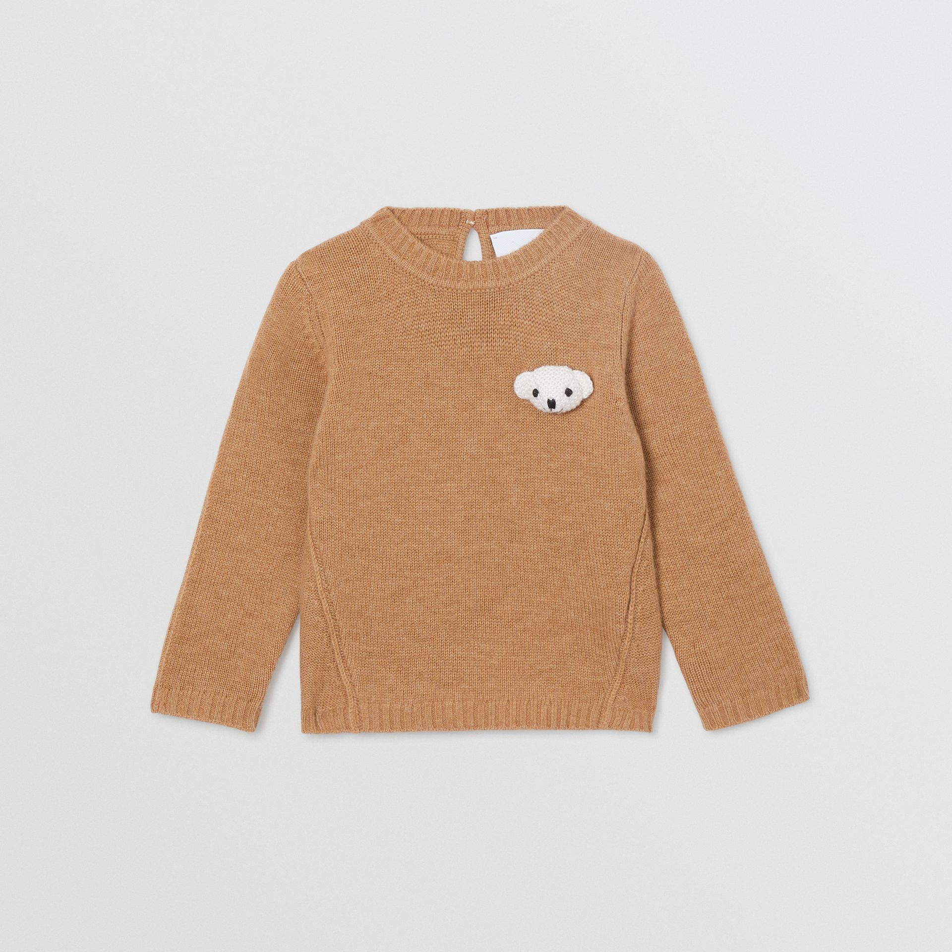 Thomas Bear Detail Wool Cashmere Sweater in Camel - Children | Burberry United States - gallery image 0