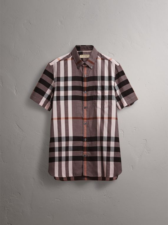 Button-down Collar Short-sleeve Check Cotton Shirt in Antique Rose - Men | Burberry - cell image 3