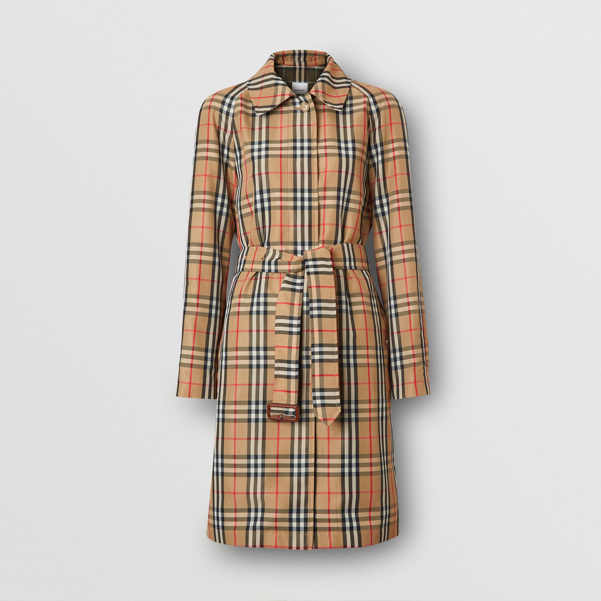 Vintage Check Nylon Belted Car Coat in Archive Beige - Women | Burberry - gallery image 3