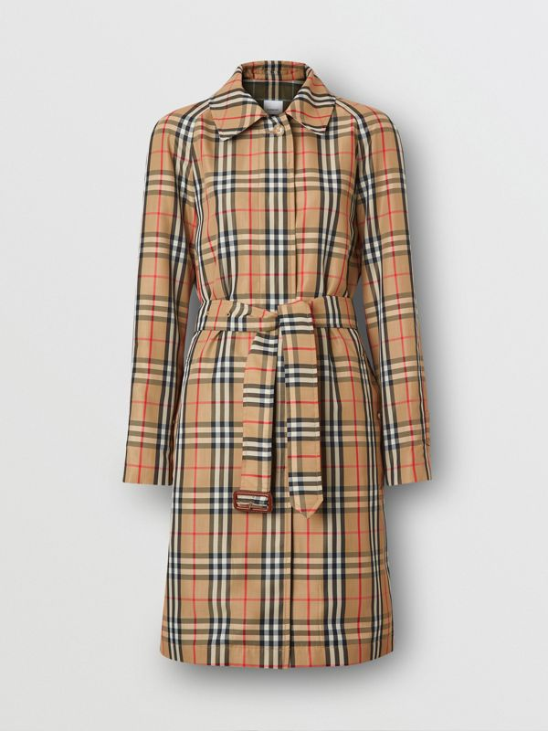 Vintage Check Nylon Belted Car Coat in Archive Beige - Women | Burberry United States - cell image 3