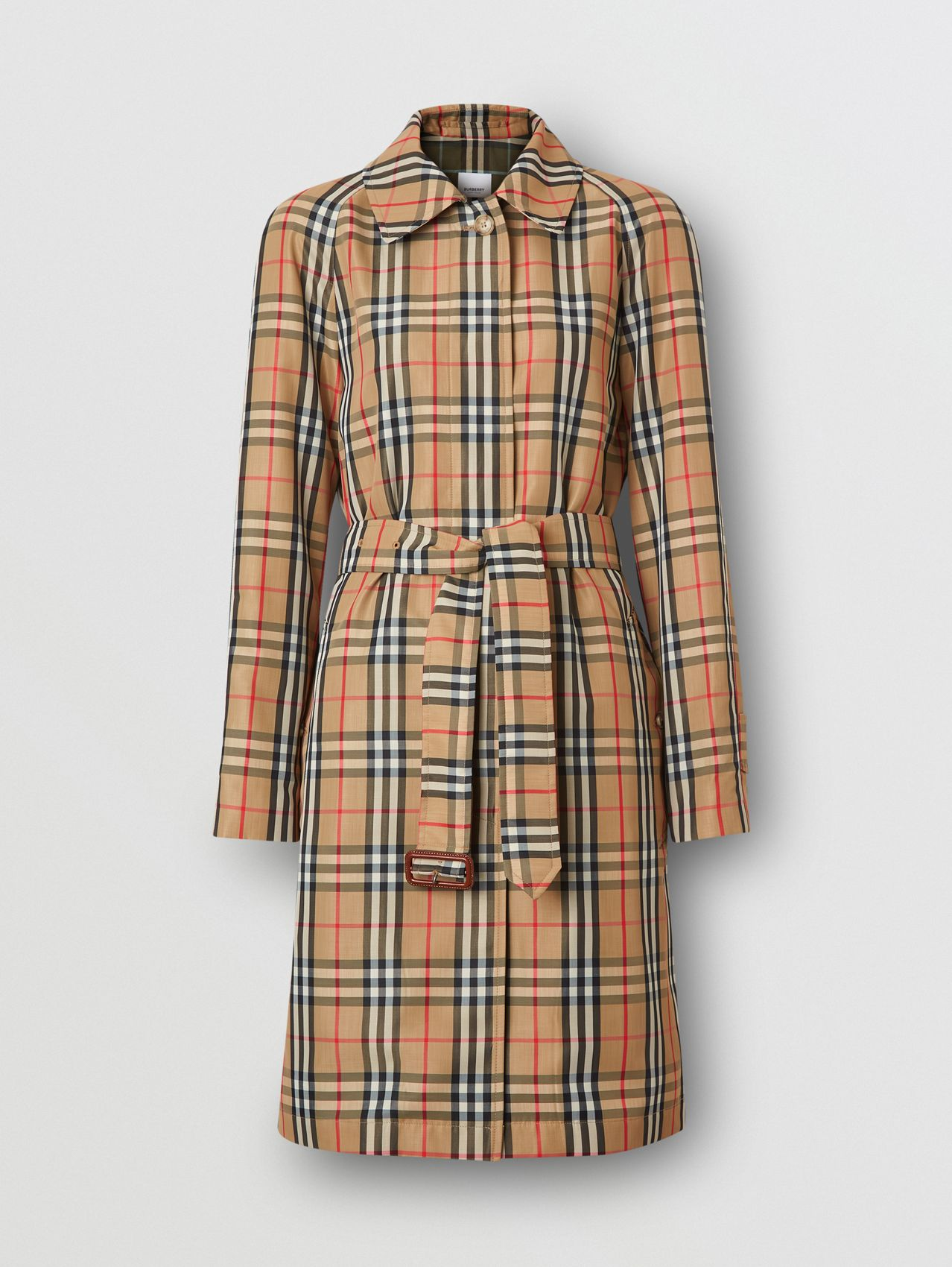 Vintage Check Nylon Belted Car Coat in Archive Beige