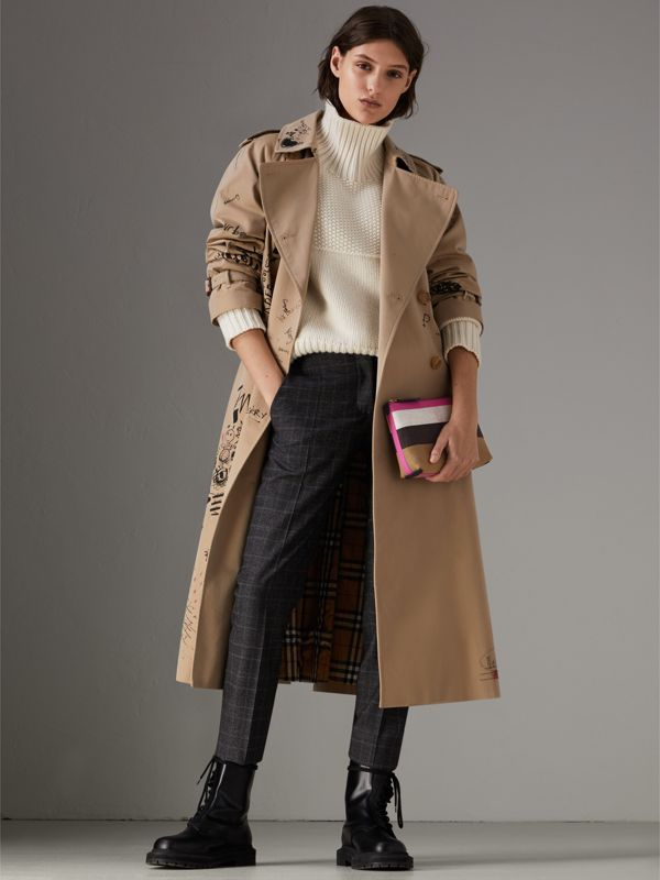 Medium Check Canvas and Leather Zip Pouch in Black/neon Pink - Women | Burberry United Kingdom - cell image 2