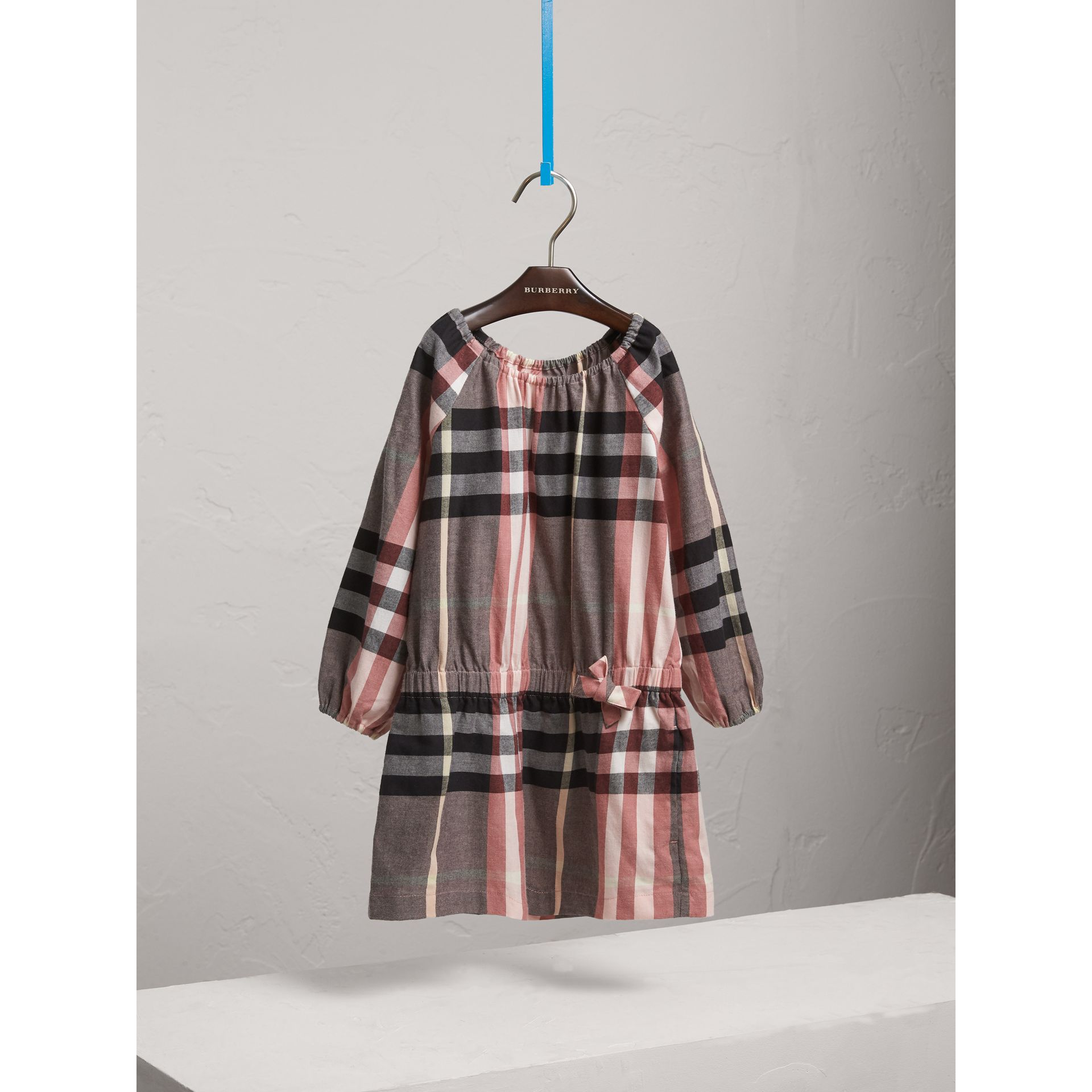 Gathered Check Cotton Flannel Dress in Dusty Pink - Girl | Burberry - gallery image 3