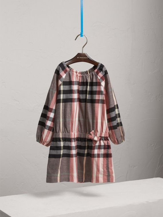 Gathered Check Cotton Flannel Dress in Dusty Pink - Girl | Burberry - cell image 2