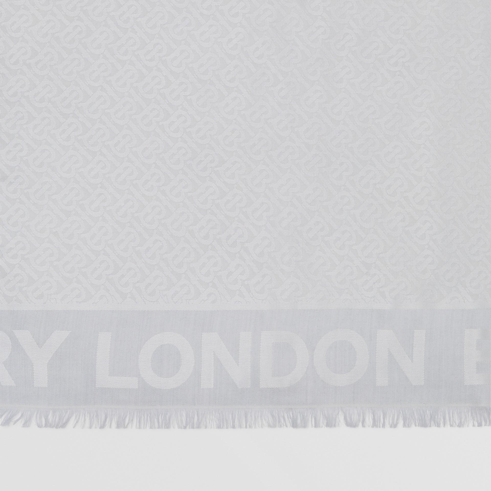 Monogram Silk Wool Jacquard Large Square Scarf in Light Pebble Grey | Burberry - gallery image 1