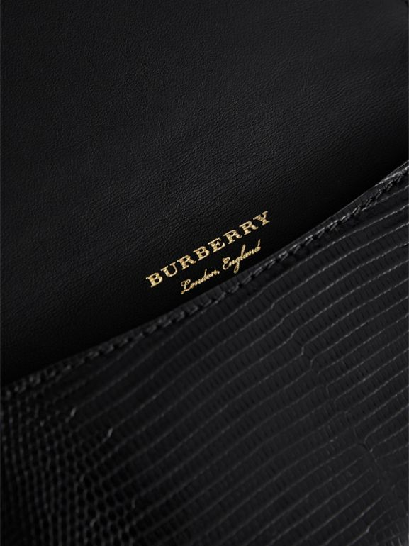 Equestrian Shield Riveted Lizard Phone Case in Black | Burberry - cell image 1