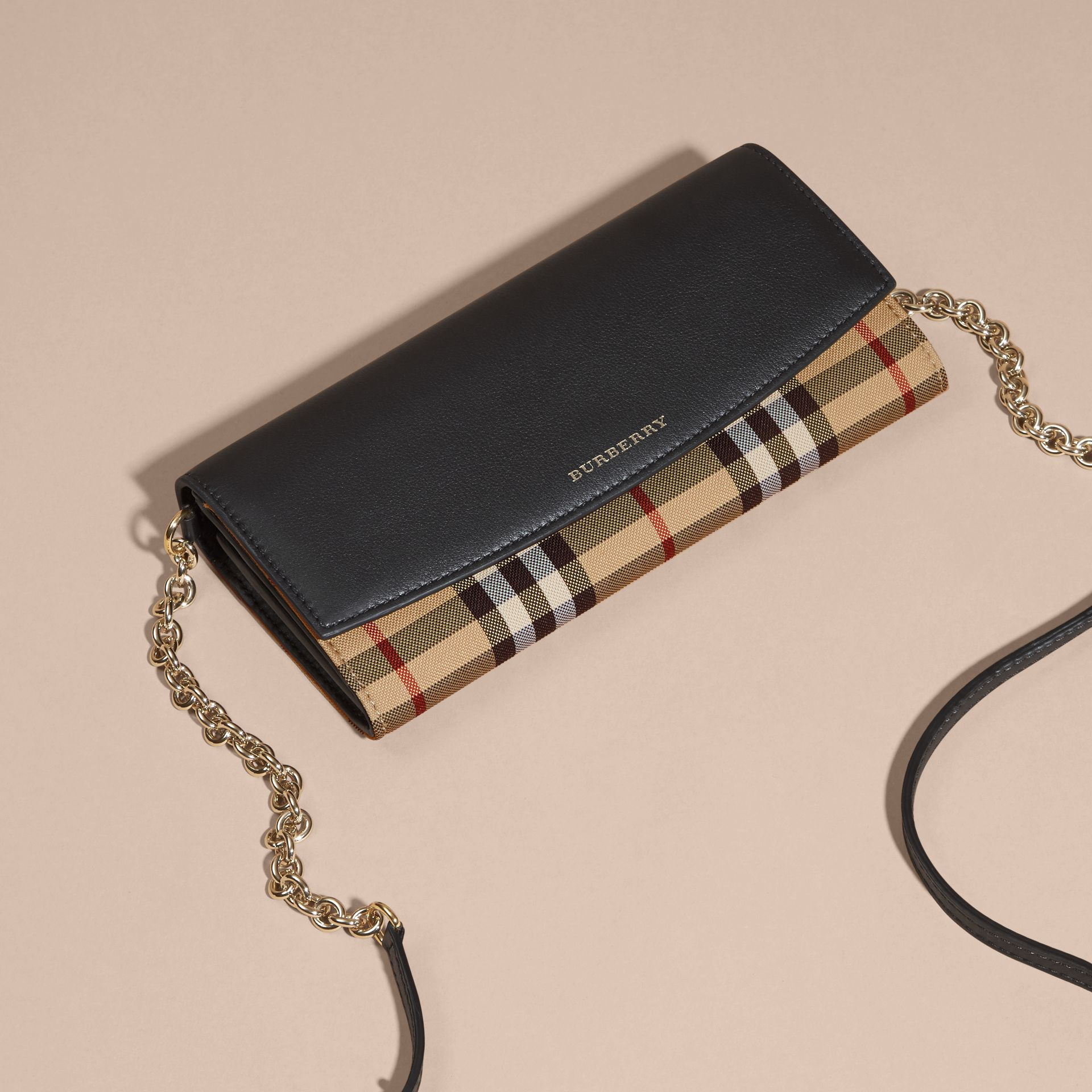 Horseferry Check and Leather Wallet with Chain in Black - Women | Burberry - gallery image 8
