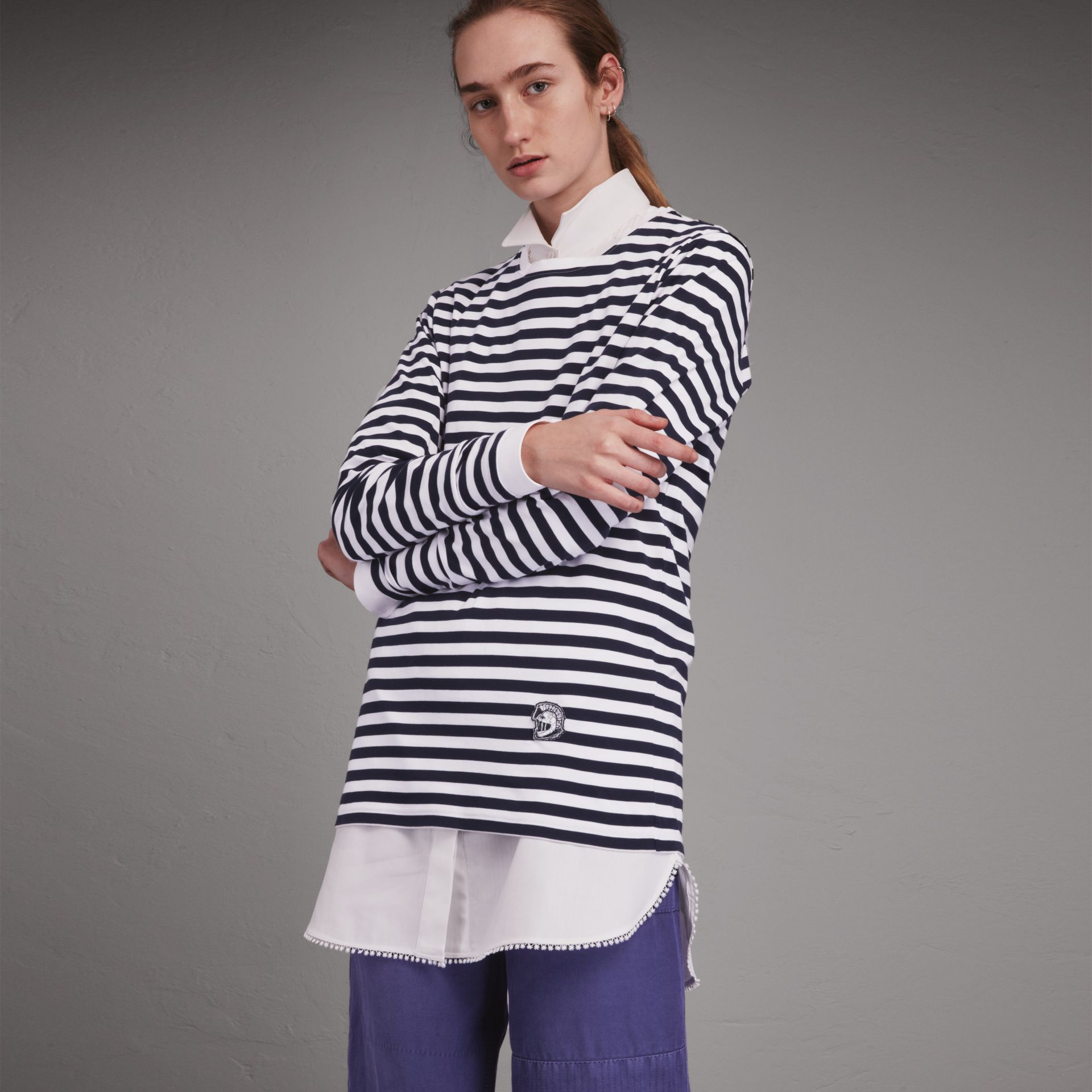 Unisex Pallas Helmet Motif Breton Stripe Cotton Top in Indigo - Men | Burberry - gallery image 3