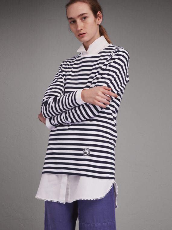 Unisex Pallas Helmet Motif Breton Stripe Cotton Top - cell image 2