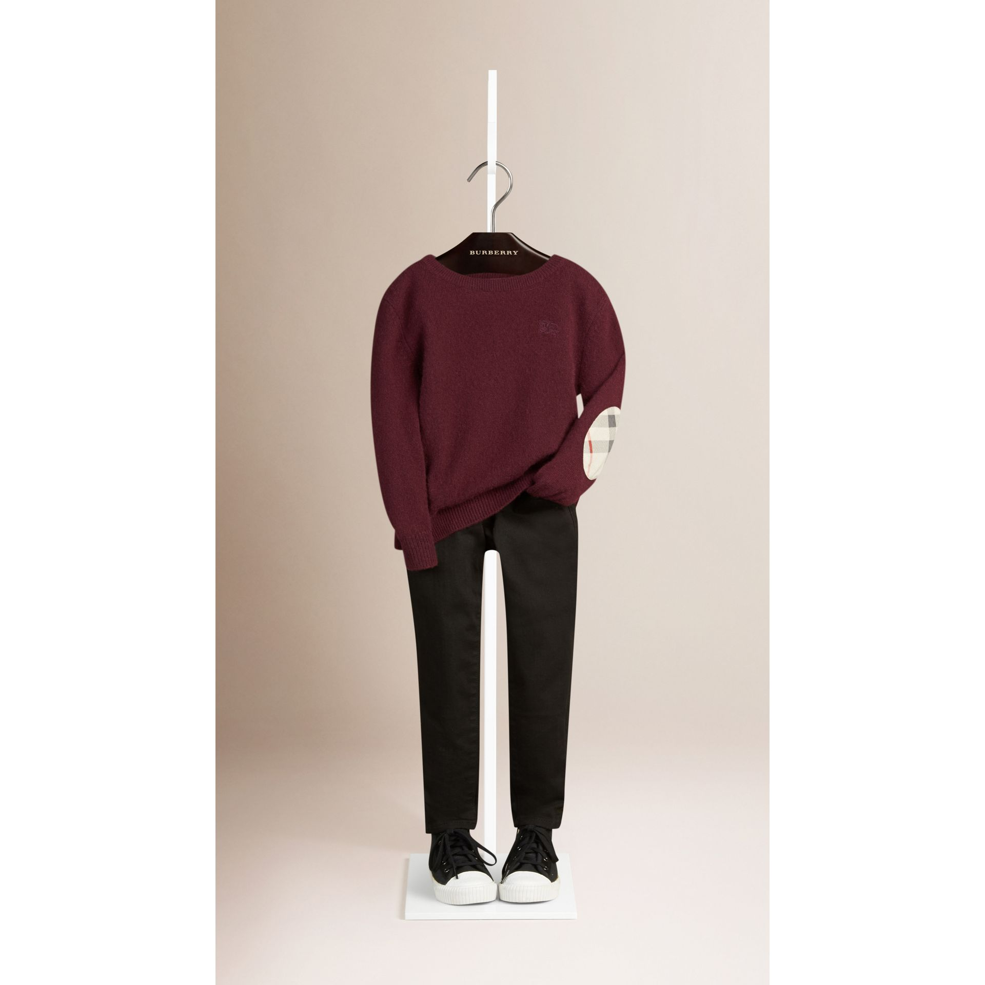 Check Elbow Patch Cashmere Sweater in Deep Claret - gallery image 1