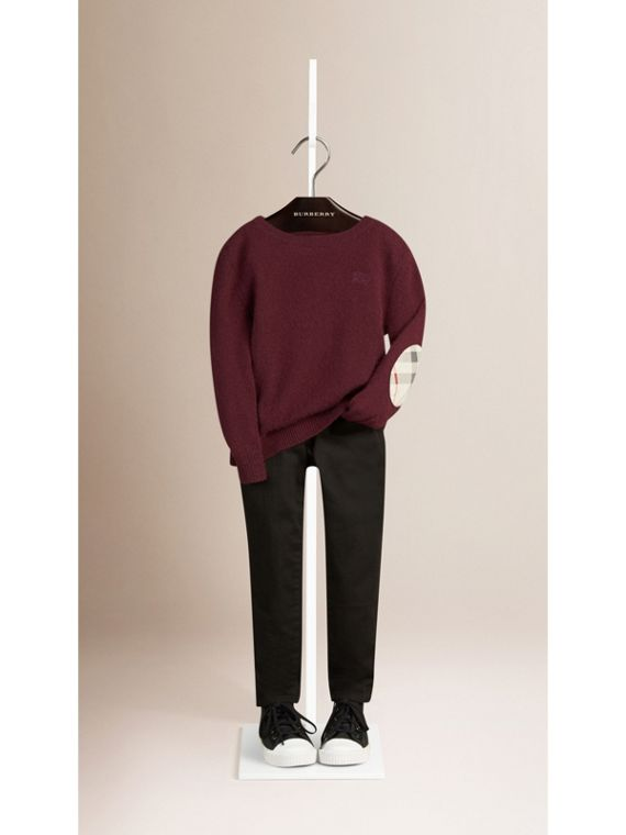 Check Elbow Patch Cashmere Sweater in Deep Claret