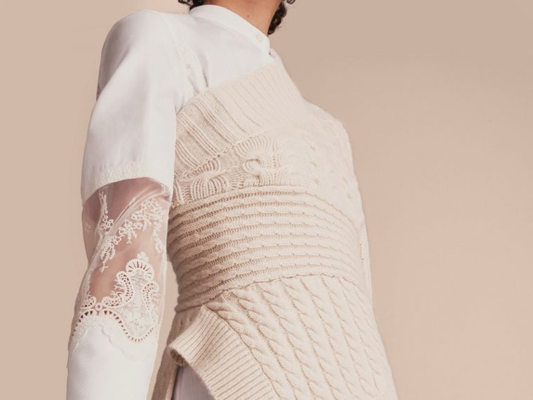 One-shoulder Cable Knit Cashmere Sweater in Natural White - Women | Burberry - cell image 4