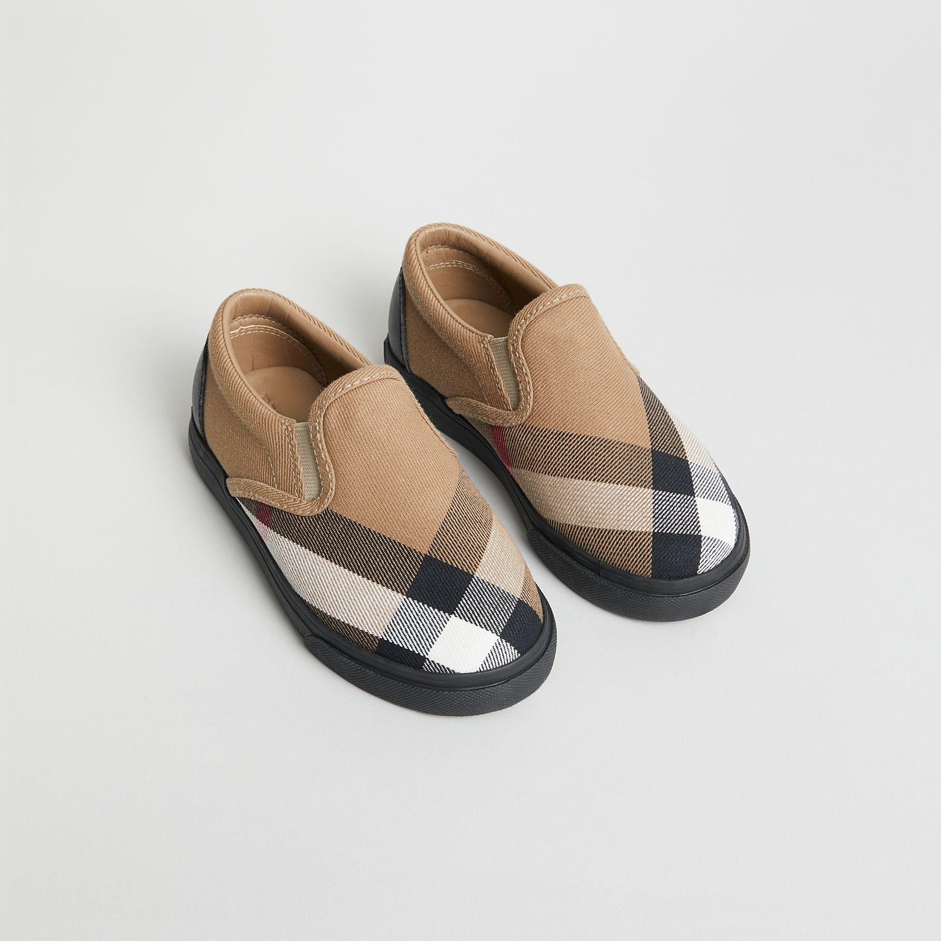 House Check and Leather Slip-on Sneakers in Classic/black | Burberry Singapore - gallery image 0