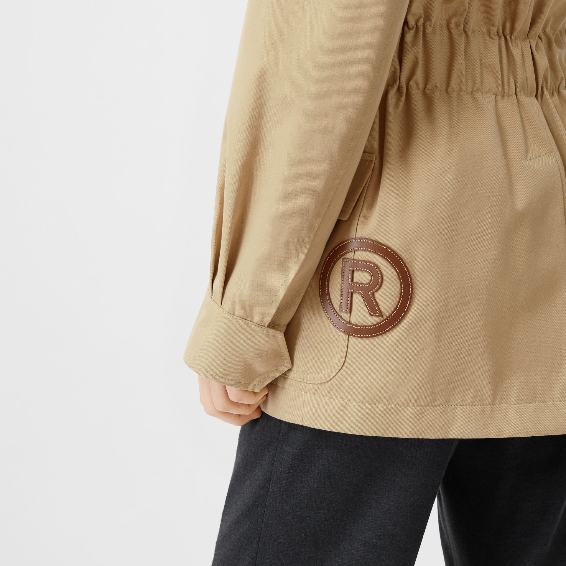 Leather Horseferry Appliqué Cotton Riding Jacket in Honey - Women | Burberry - gallery image 6
