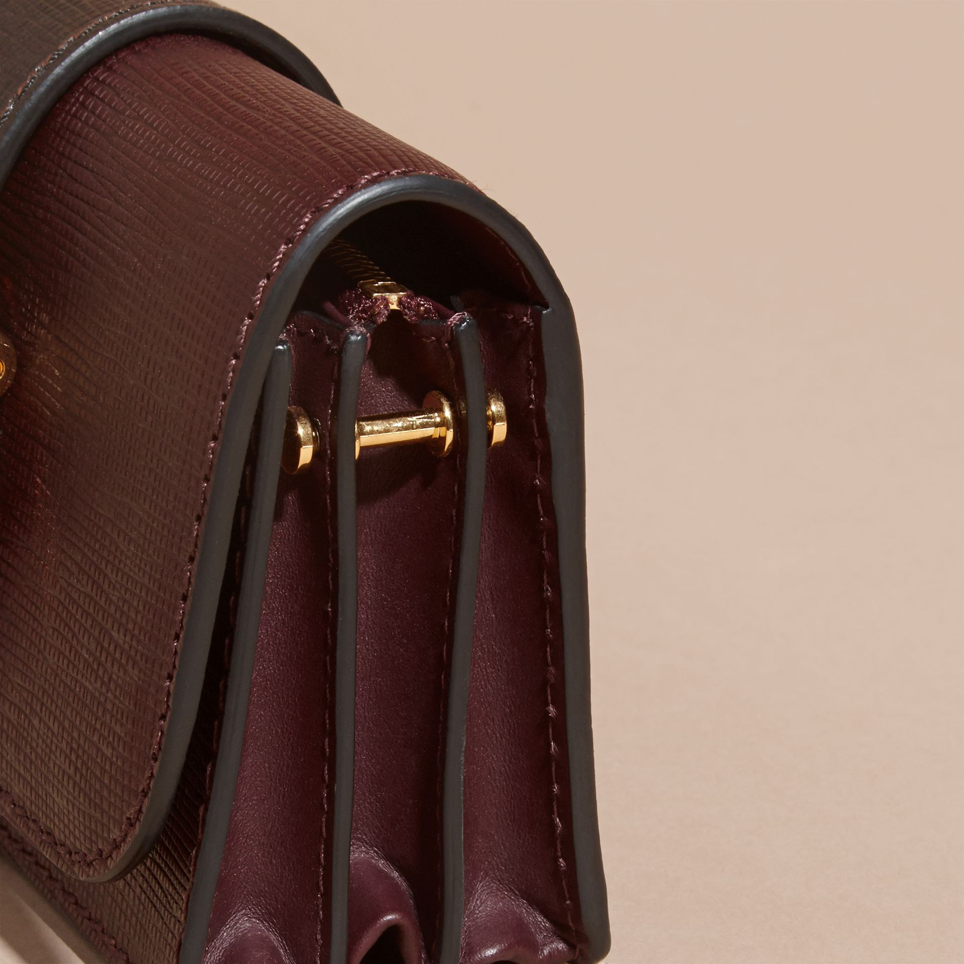 The Small Buckle Bag in Textured Leather in Burgundy/black - gallery image 7