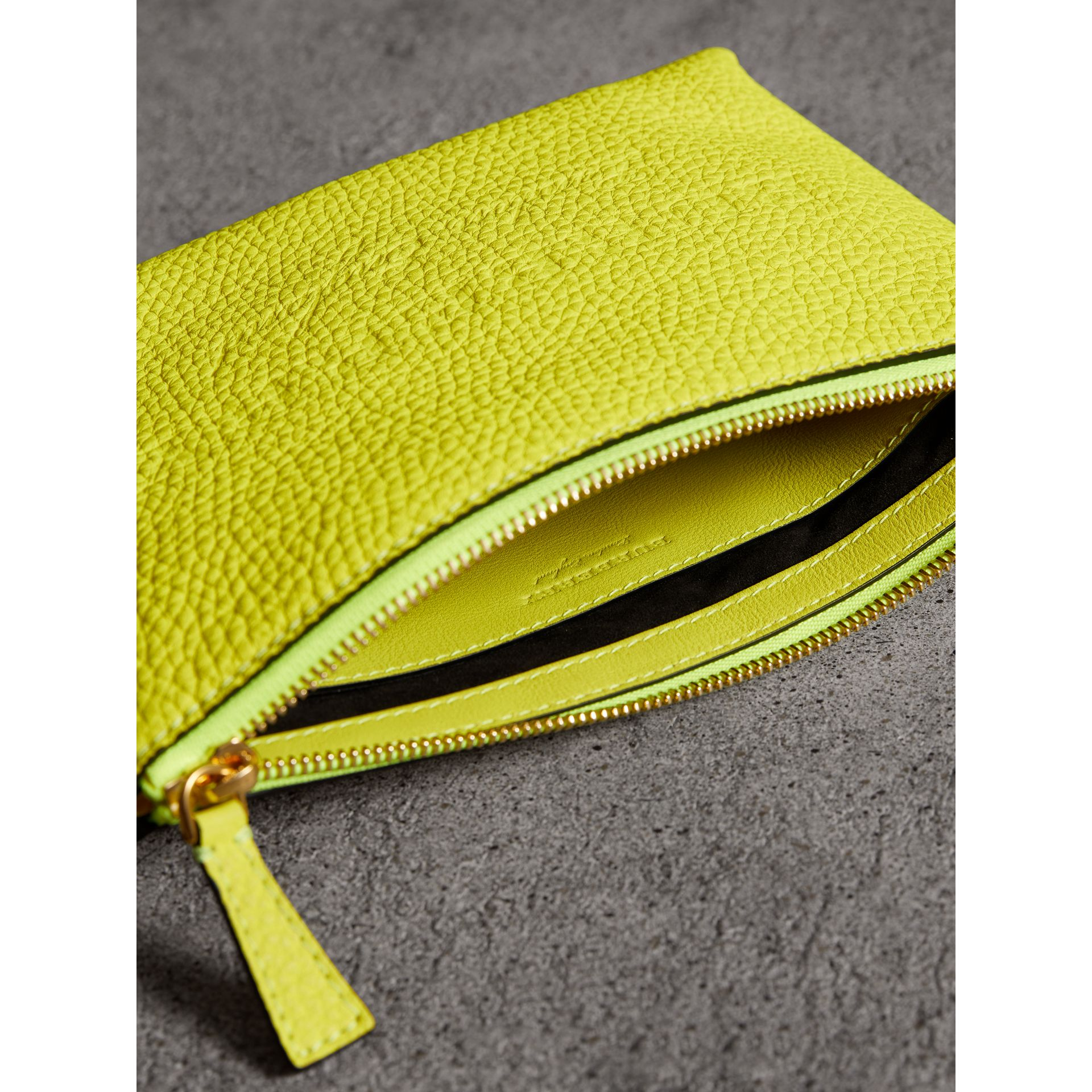 Medium Embossed Leather Zip Pouch in Bright Yellow | Burberry United Kingdom - gallery image 3