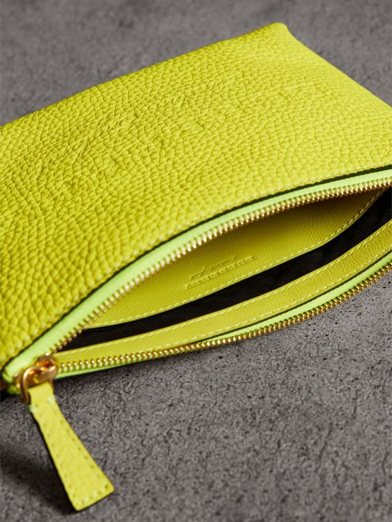 Medium Embossed Leather Zip Pouch in Bright Yellow | Burberry United Kingdom - cell image 3