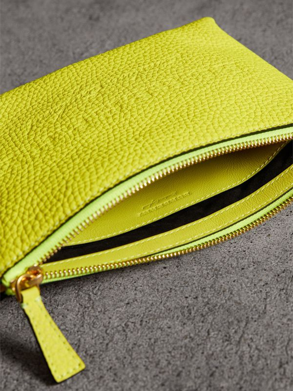 Medium Embossed Leather Zip Pouch in Bright Yellow | Burberry - cell image 3