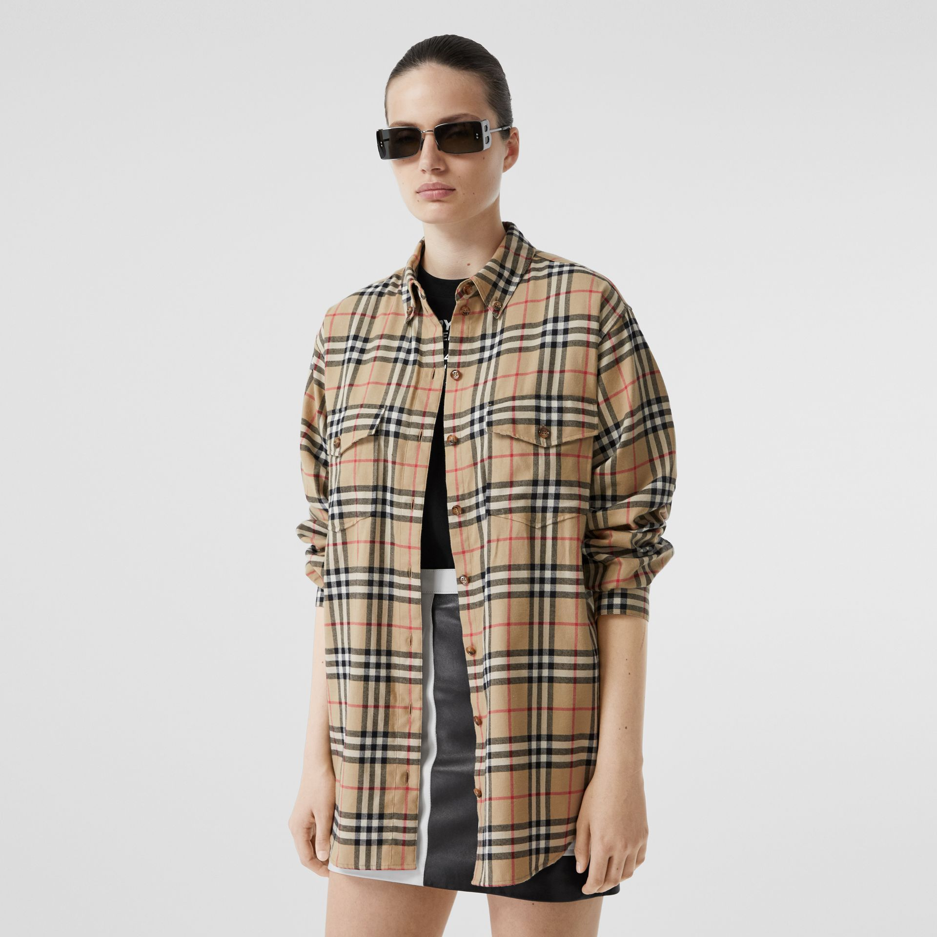 Vintage Check Cotton Flannel Oversized Shirt in Archive Beige - Women | Burberry Australia - gallery image 4