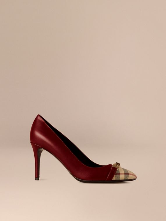 Horseferry Check Leather Pumps Oxblood