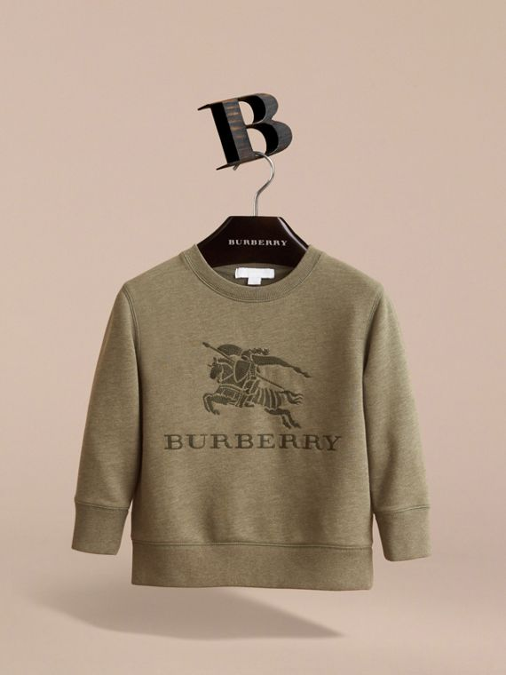 Embroidered Cotton Jersey Sweatshirt in Khaki Green Melange | Burberry - cell image 2