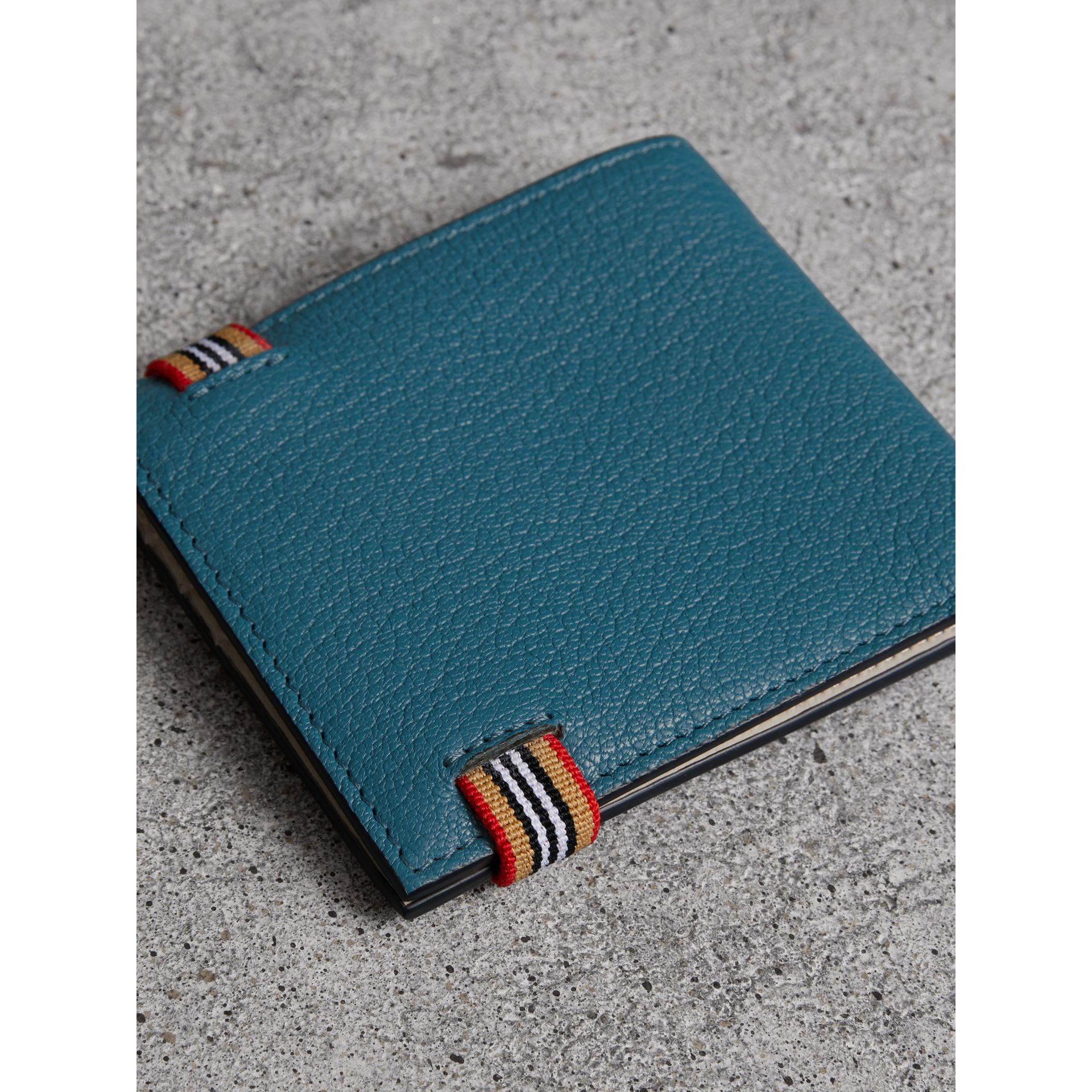 Heritage Stripe Leather International Bifold Wallet in Peacock Blue - Men | Burberry - gallery image 2