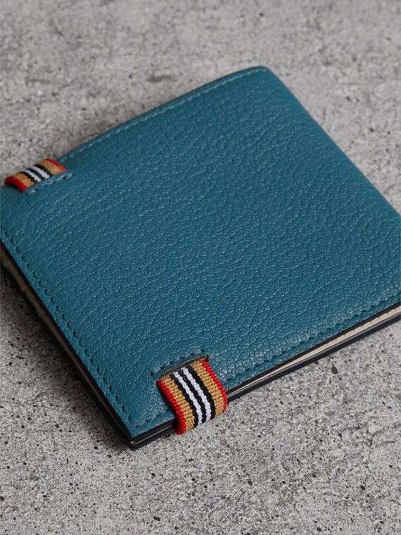 Heritage Stripe Leather International Bifold Wallet in Peacock Blue - Men | Burberry Australia - cell image 2