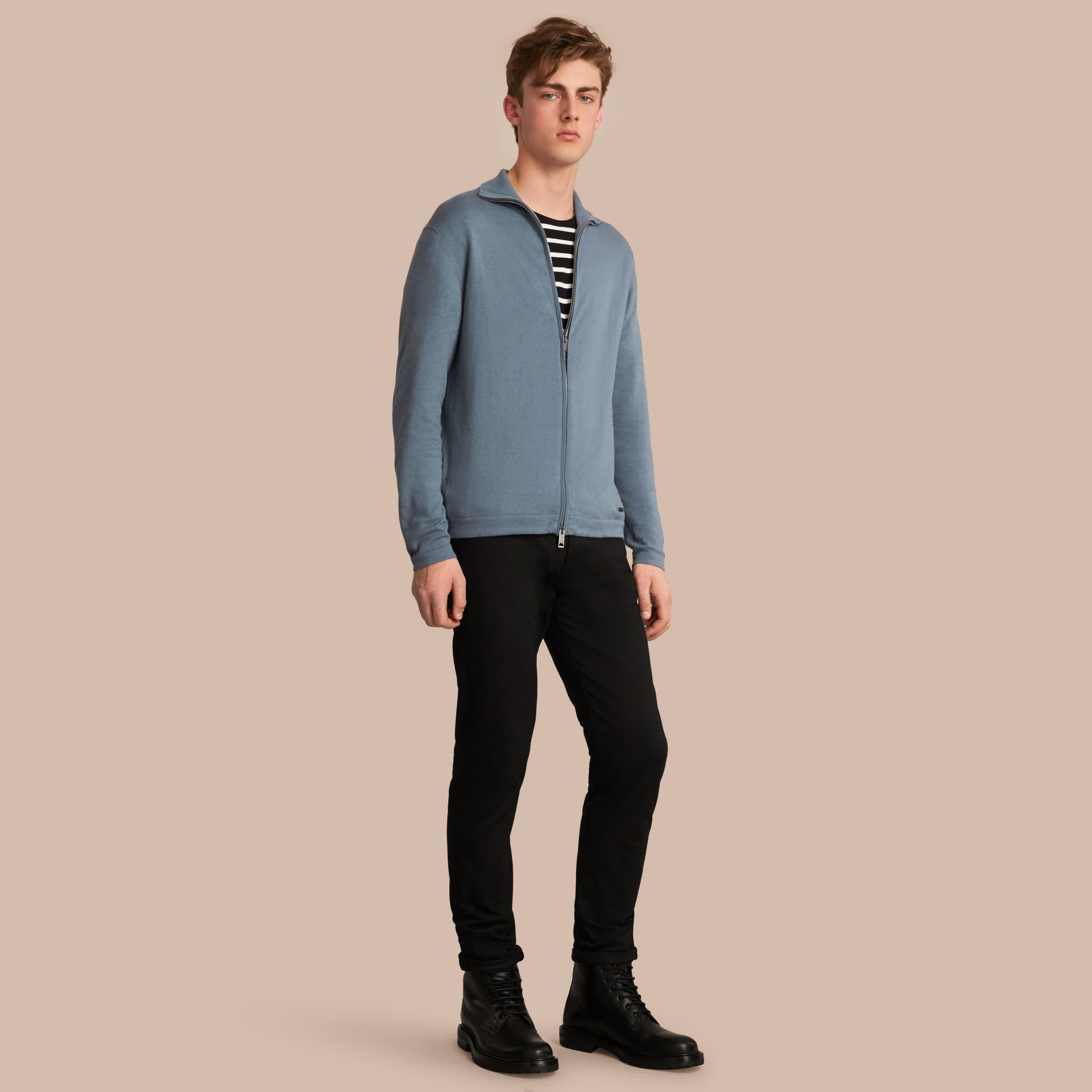 Cotton Cashmere Zip-front Top - Men | Burberry - gallery image 1