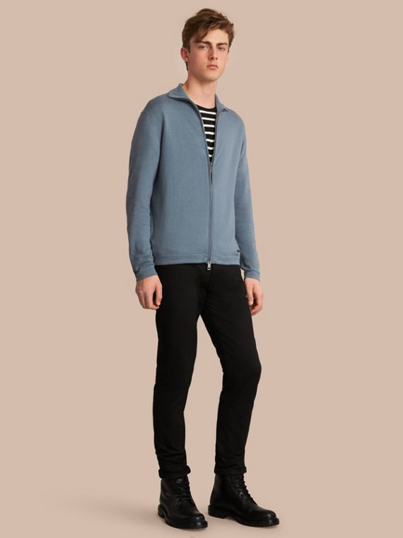 Cotton Cashmere Zip-front Top