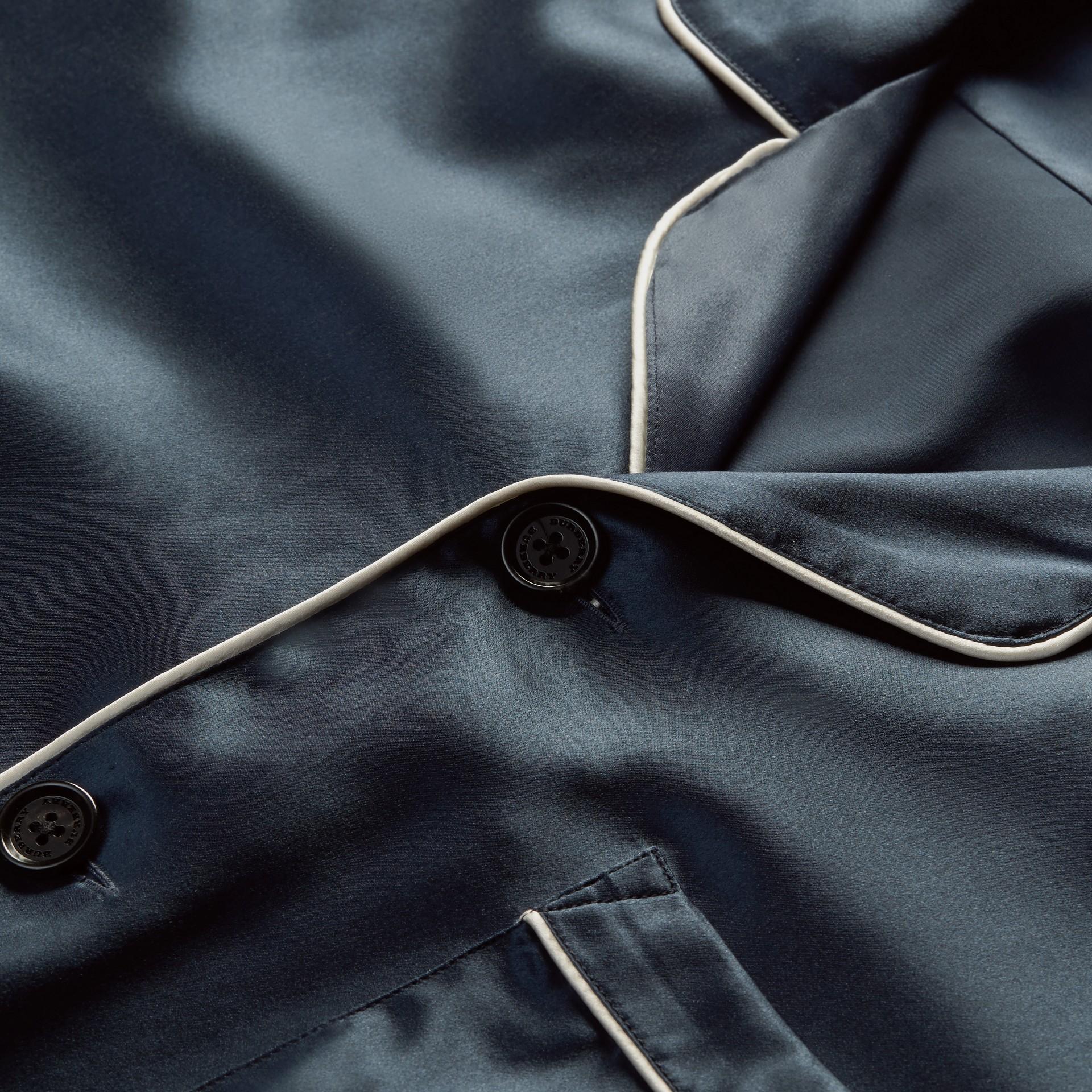 Navy Silk Pyjama-style Shirt - gallery image 2