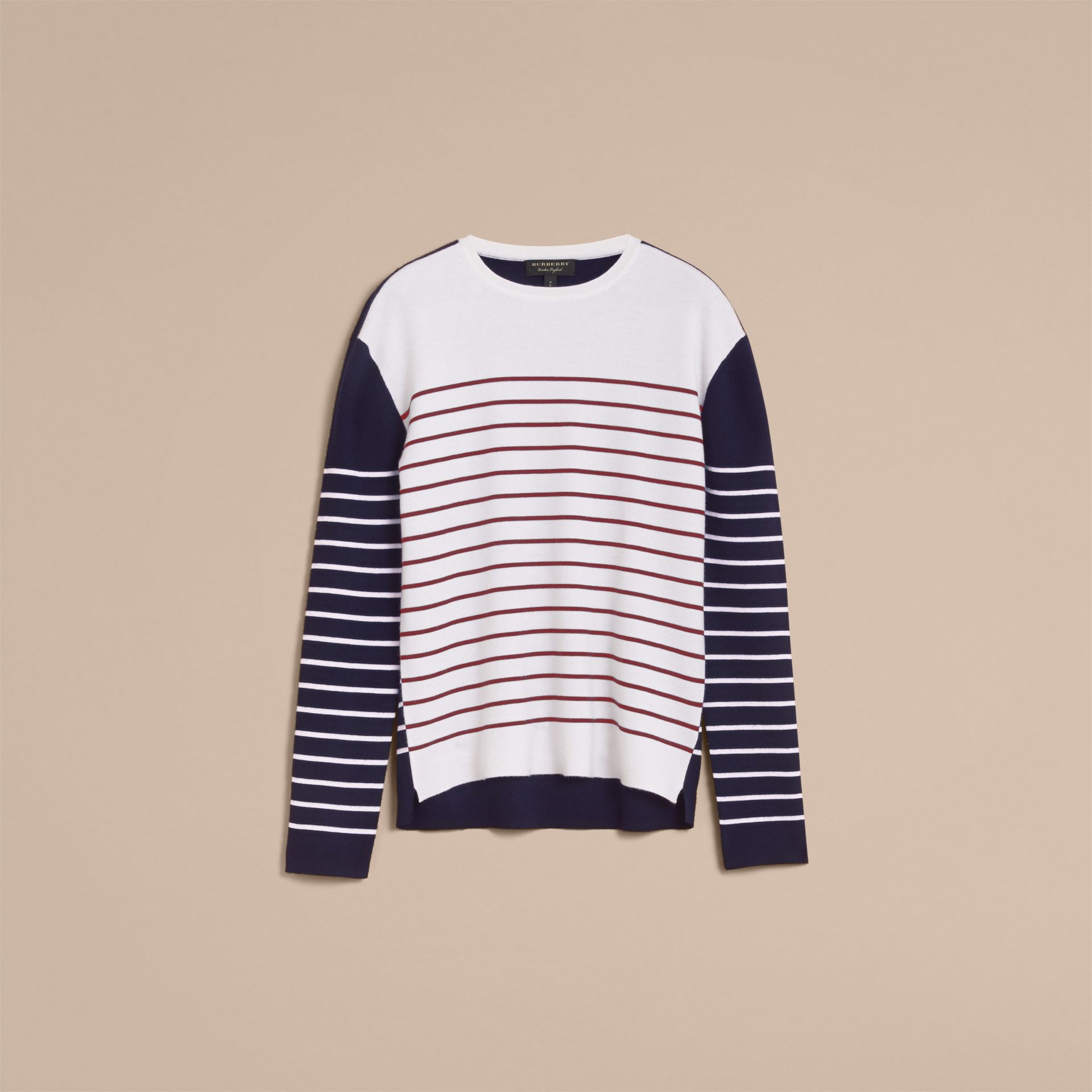Contrast Stripe Cashmere Blend Sweater in Navy - Men | Burberry - gallery image 4