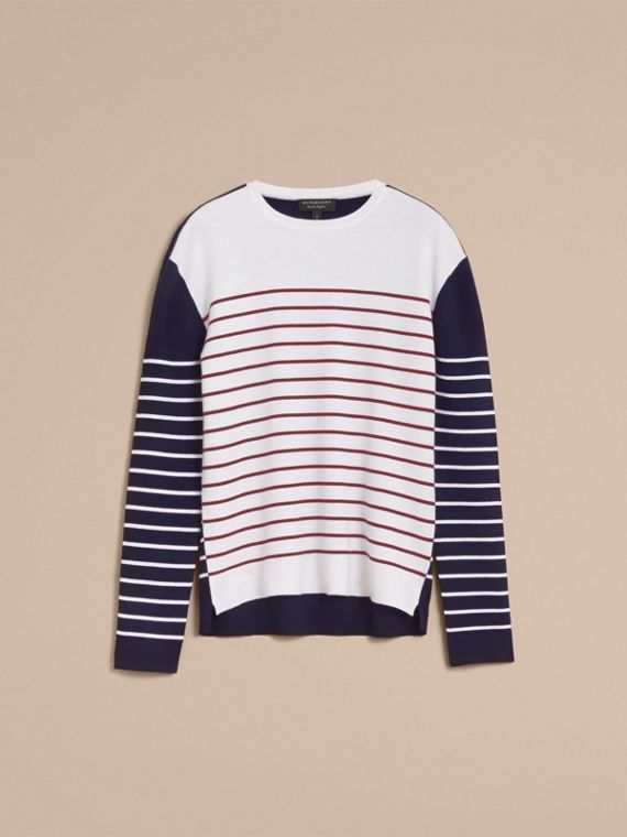 Contrast Stripe Cashmere Blend Sweater in Navy - Men | Burberry - cell image 3