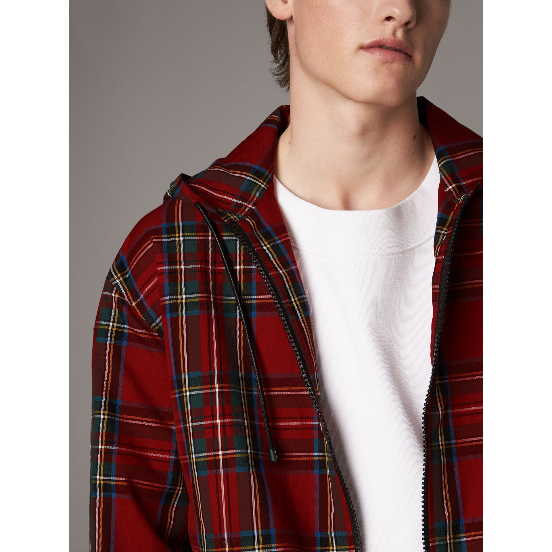Tartan Cotton Hooded Jacket in Bright Red - Men | Burberry United Kingdom - gallery image 2