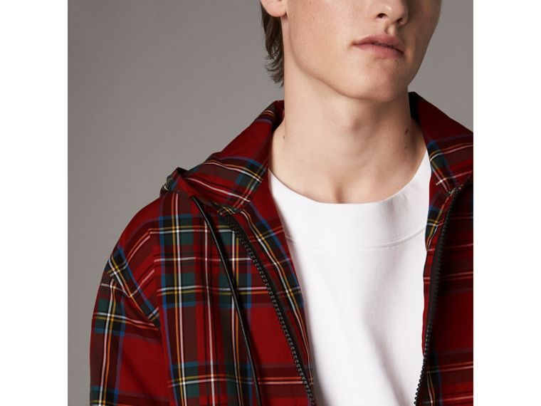 Tartan Cotton Hooded Jacket in Bright Red - Men | Burberry United States - cell image 1