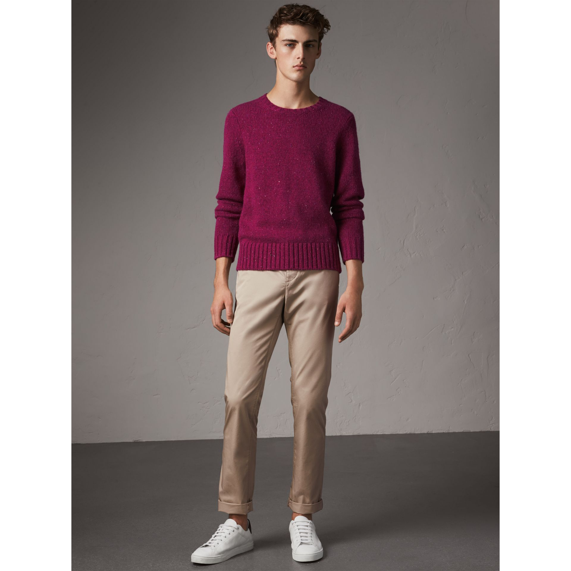 Straight Fit Cotton Chinos in Taupe - Men | Burberry - gallery image 0