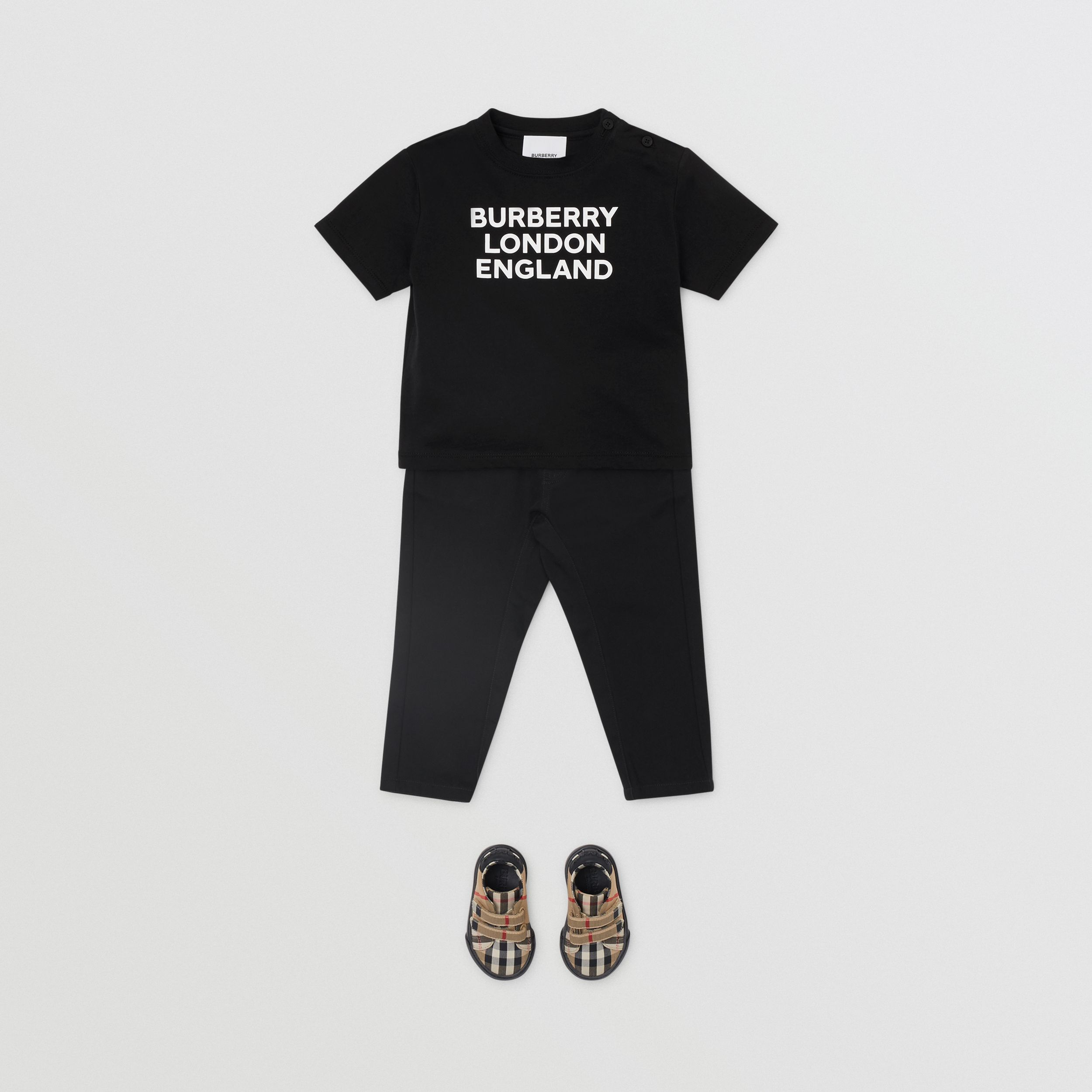 Logo Print Cotton T-shirt in Black - Children | Burberry - 4