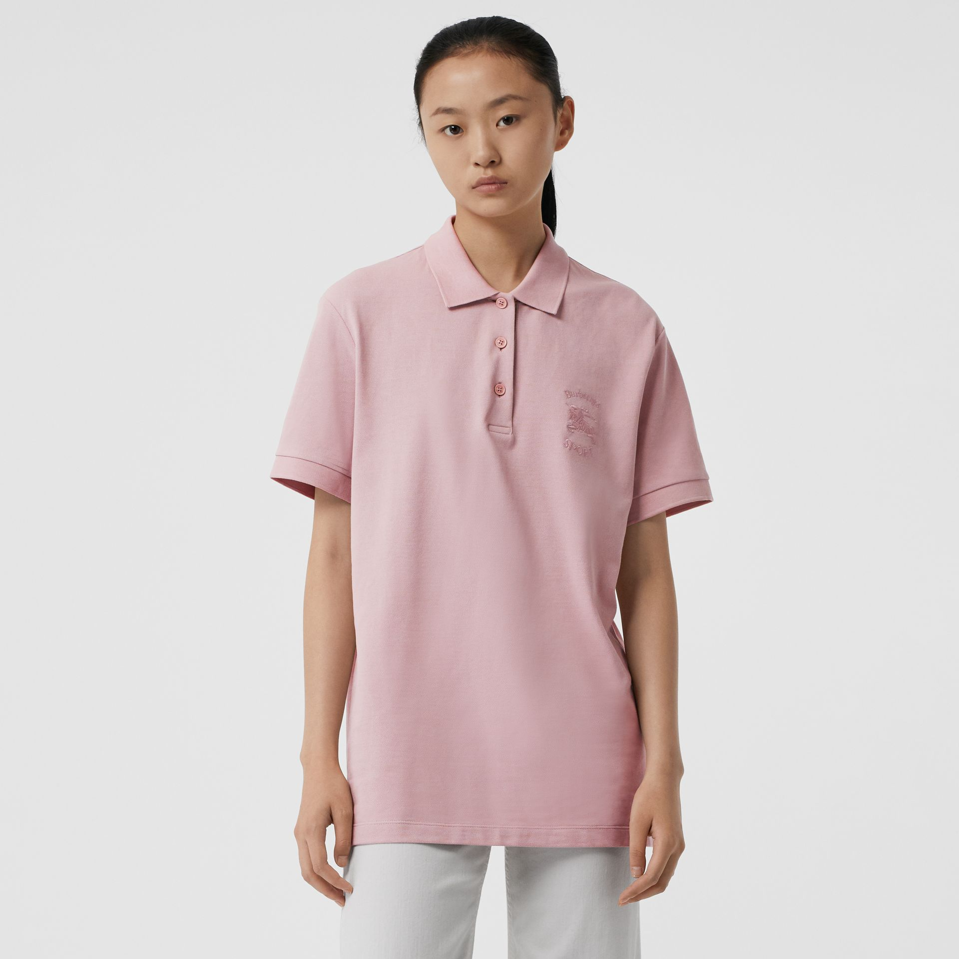 Check Placket Cotton Piqué Polo Shirt in Chalk Pink - Women | Burberry United States - gallery image 0