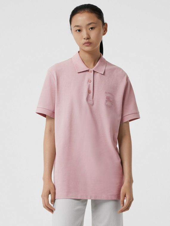 Check Placket Cotton Piqué Polo Shirt in Chalk Pink