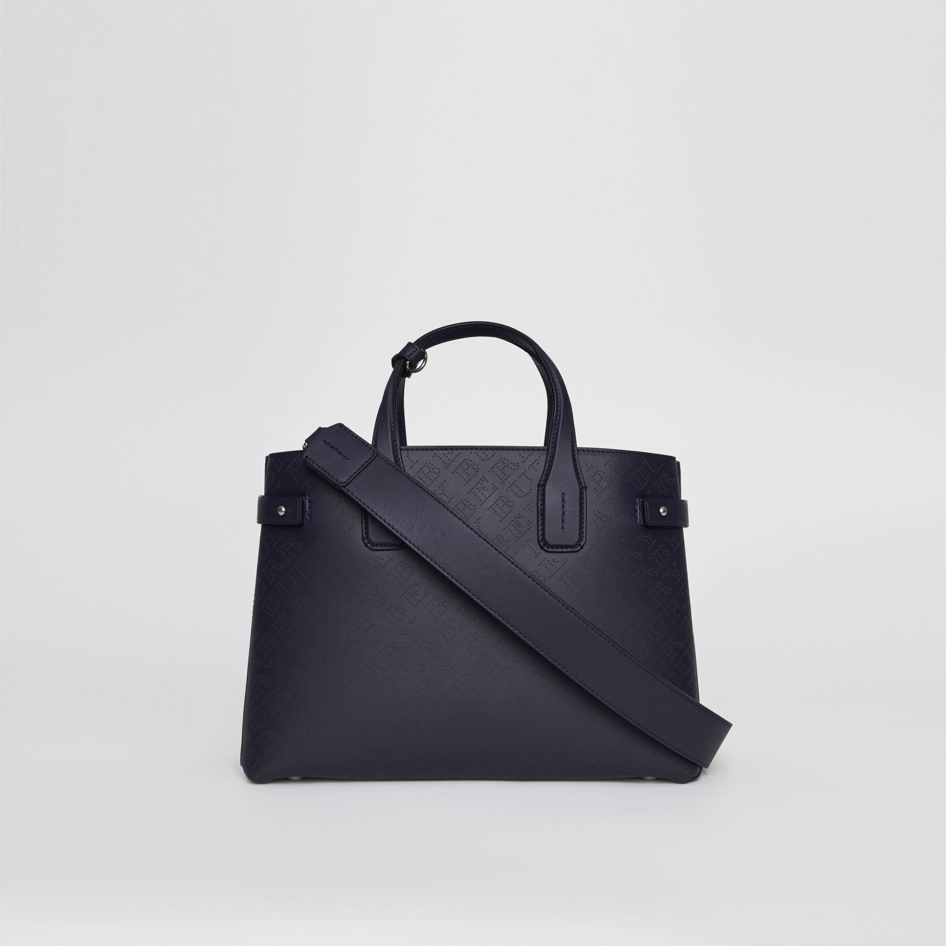 The Medium Banner in Perforated Logo Leather in Regency Blue - Women | Burberry United Kingdom - gallery image 5
