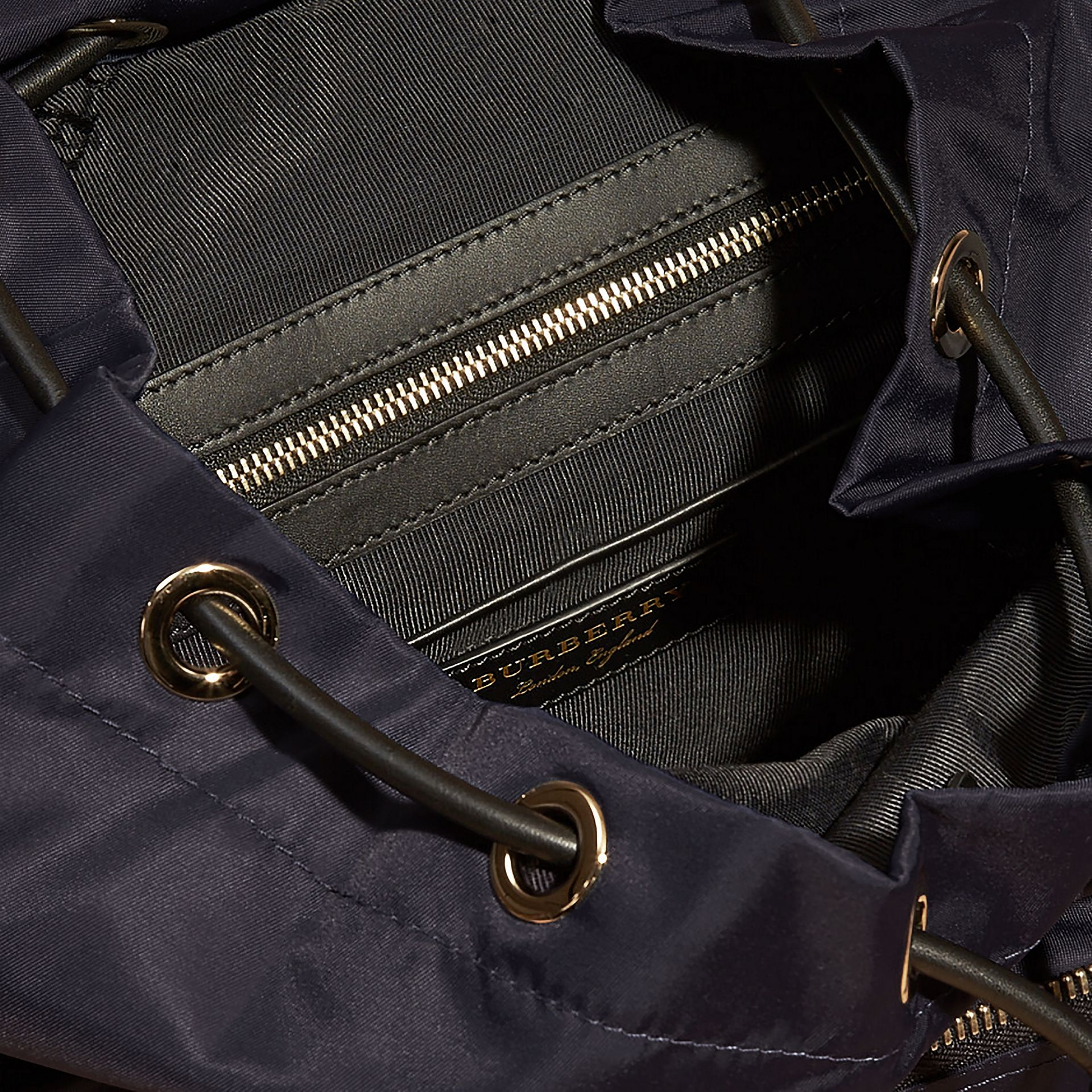 The Large Rucksack in Technical Nylon and Snakeskin in Ink Blue/mineral Blue - gallery image 7